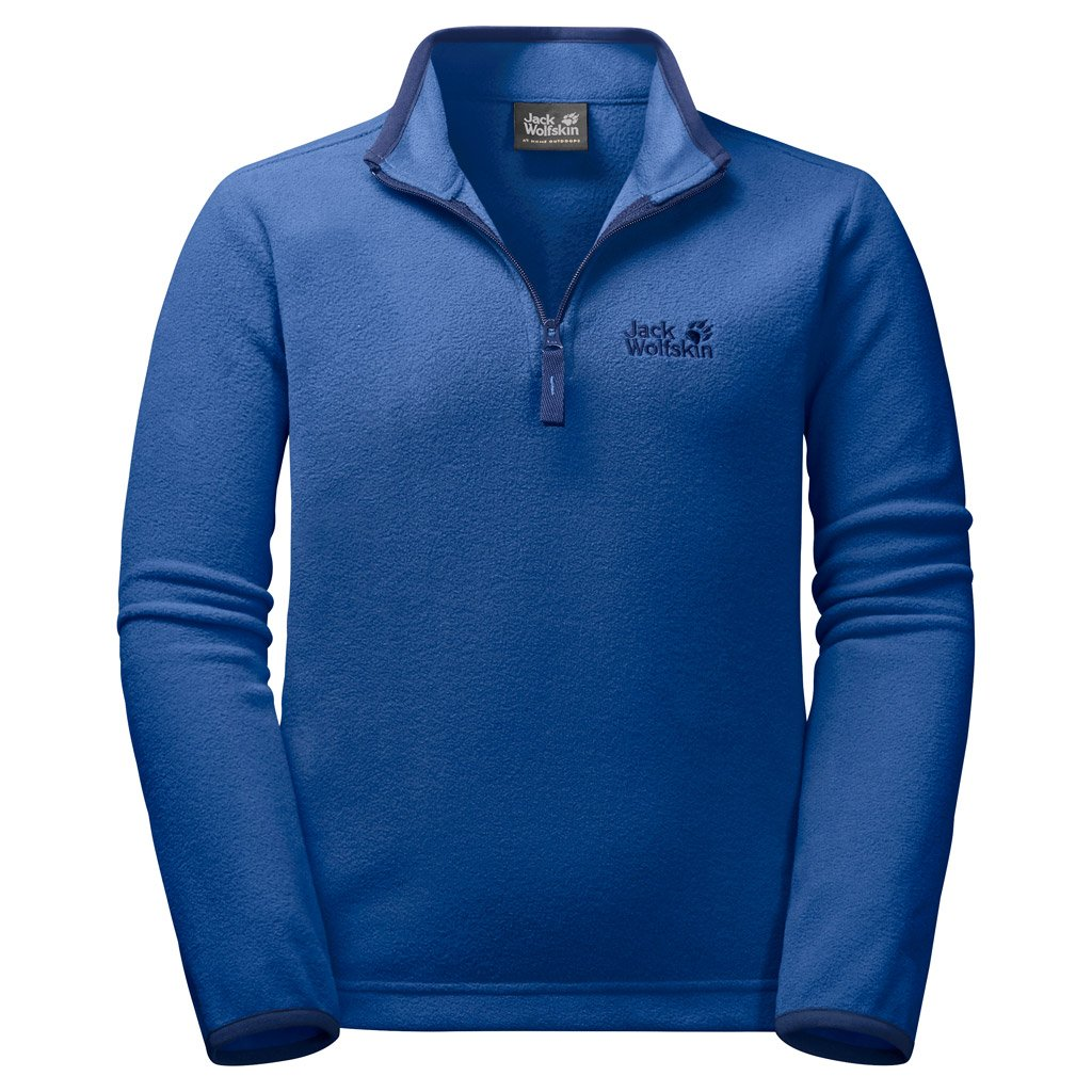 Jack Wolfskin Wolf Kid's Lightweight Half-Zip Fleece Sweater, Coastal Blue, Size152(11-12) by Jack Wolfskin