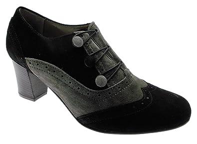 Melluso Daim 03263 Noir En Cou À Millésime Gris Chaussures Femmes O6RrxqO