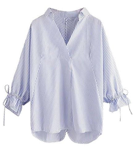 Gogofuture Camisa Mujer Cuello V Suelto Camiseta Blusa Mangas Largas Casual Elegante A Rayas Oficina Blouses T Shirt Tallas Grandes
