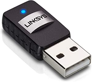Linksys AE6000 Wireless Mini USB Adapter AC 580 Dual Band,Black,8.60in. x 5.40in. x 2.30in.
