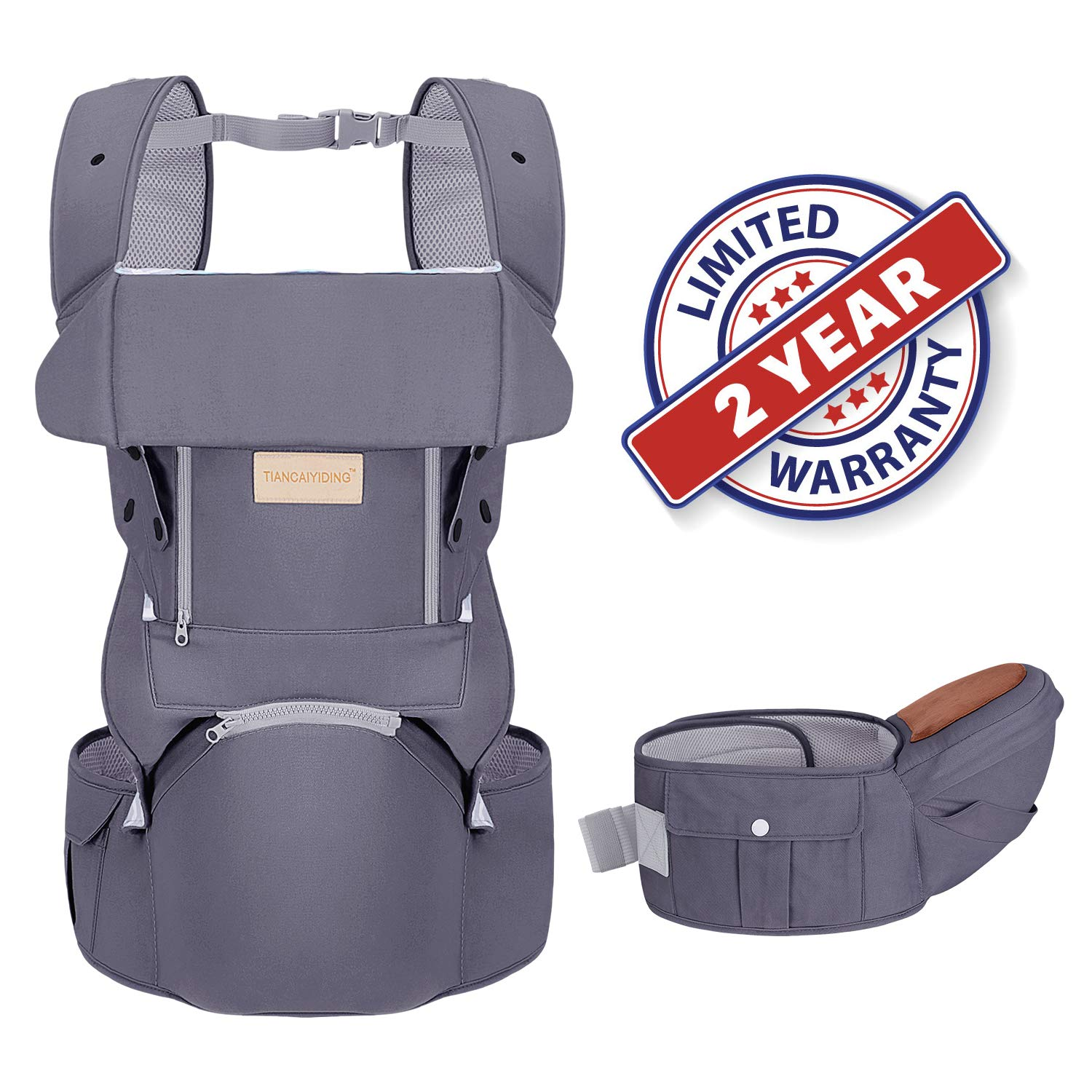 Infant Baby Wrap Carrier with Stool – All Positions Baby Carrier, Baby Hip Seat Ergonomic Carrier, Newborn to Toddlers Carrier with Soft Breathable Air Mesh, All Adjustable Buckles Dark Grey, 1 Pack