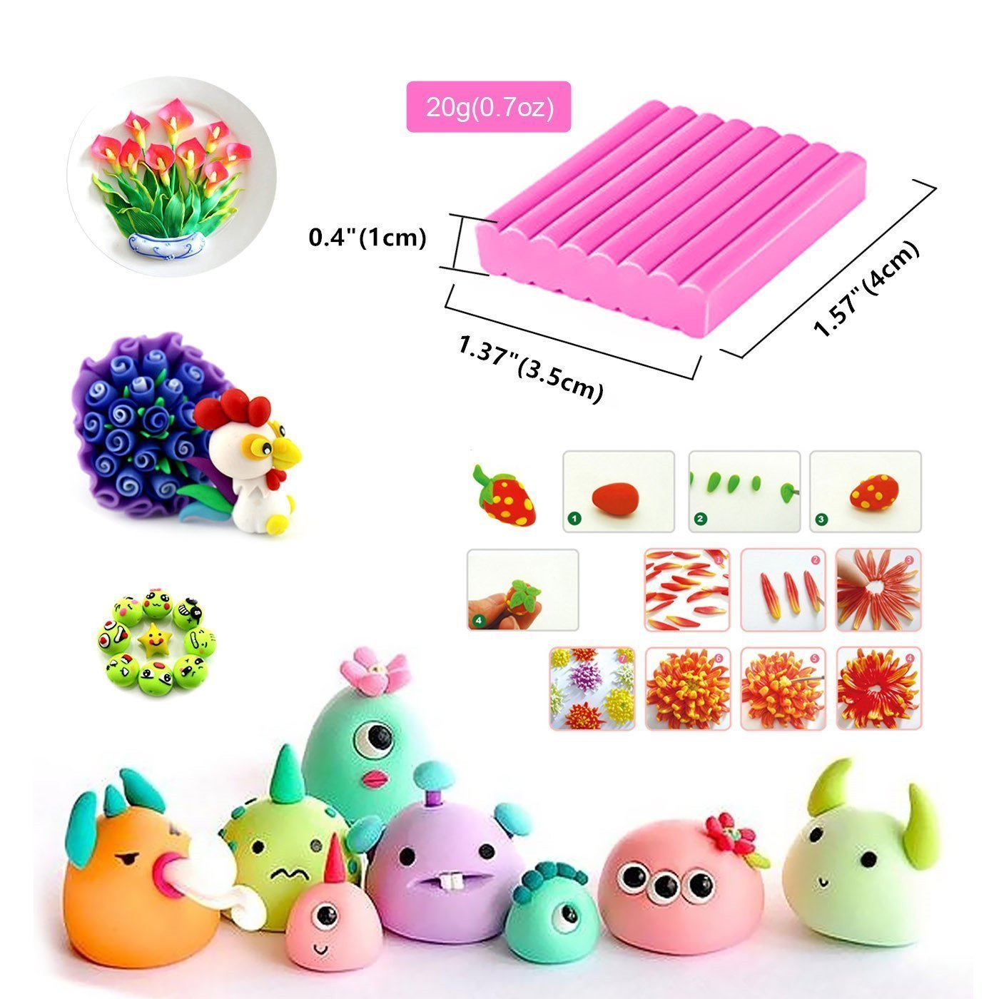 Rubikliss Polymer Clay Oven Bake Set,24 Color DIY Modeling Clay for kids, Oven Bake Clay with Modeling Tool Set Fimo Clay Toy Best gift for Children