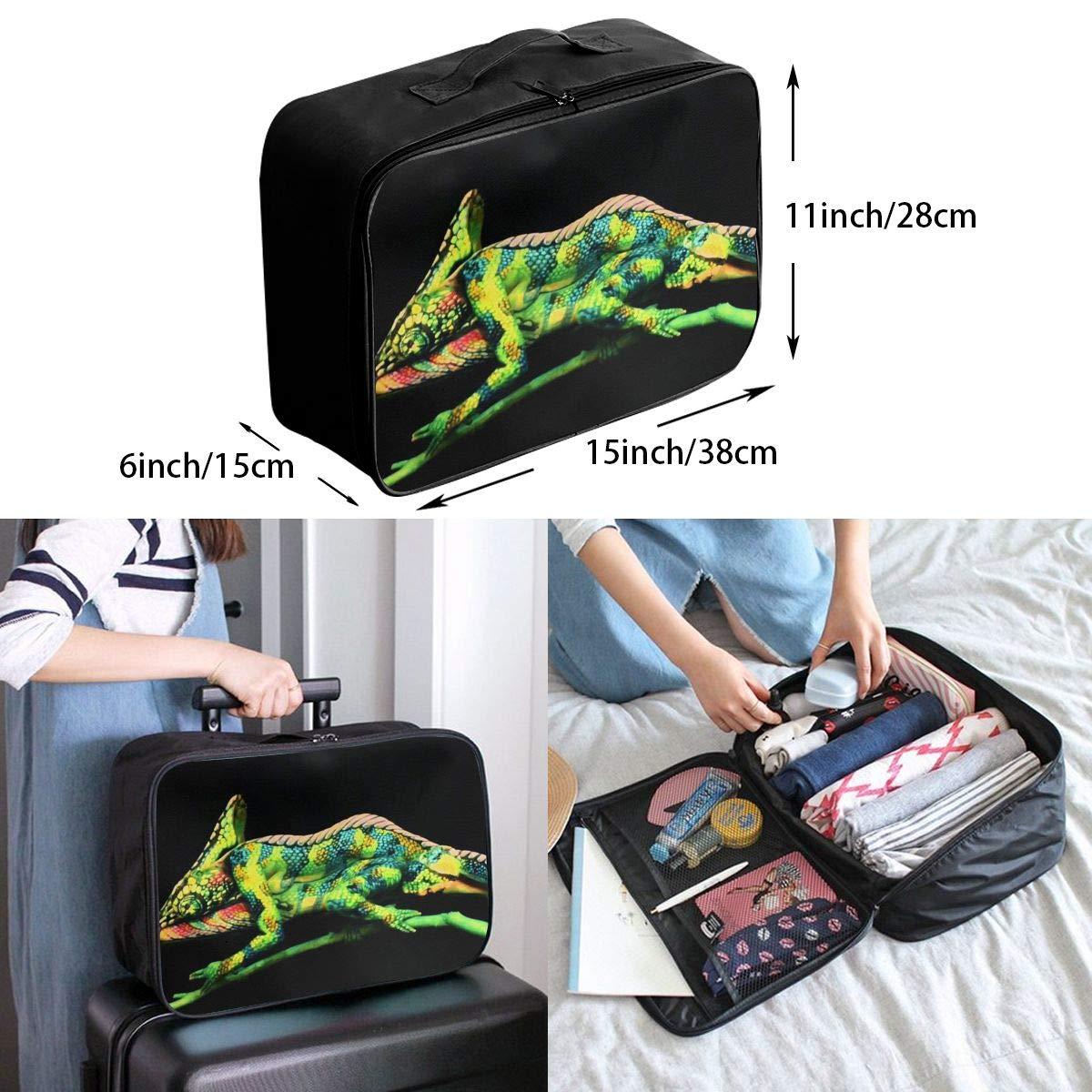 Travel Luggage Duffle Bag Lightweight Portable Handbag Green Lizard Print Large Capacity Waterproof Foldable Storage Tote