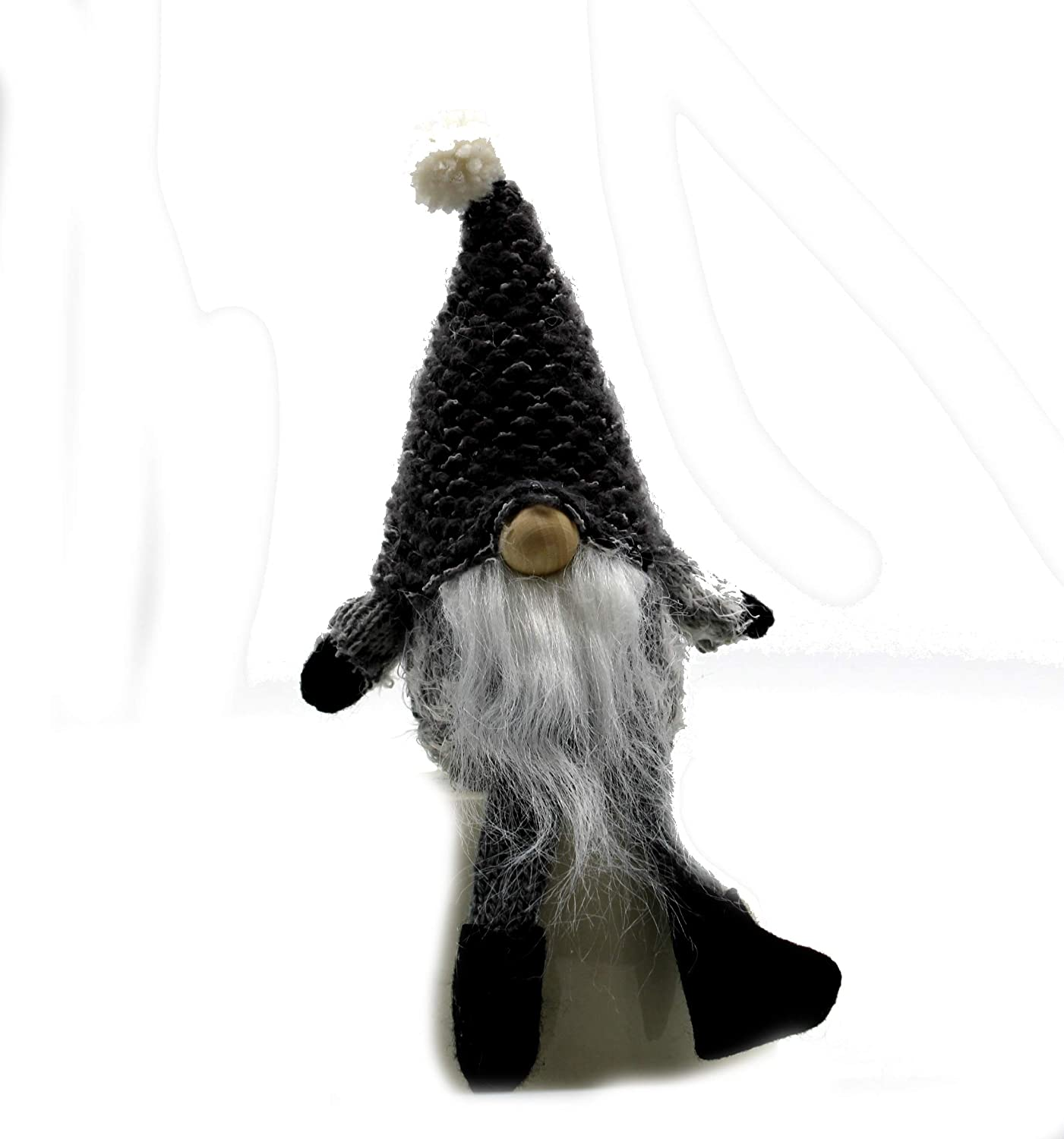 MeraVic - Gnome in Gray Hat with Legs - 9.5 inches - Winter Decorations - Felt - Holiday Decor - Bearded - Gnome in Gray Hat with Legs