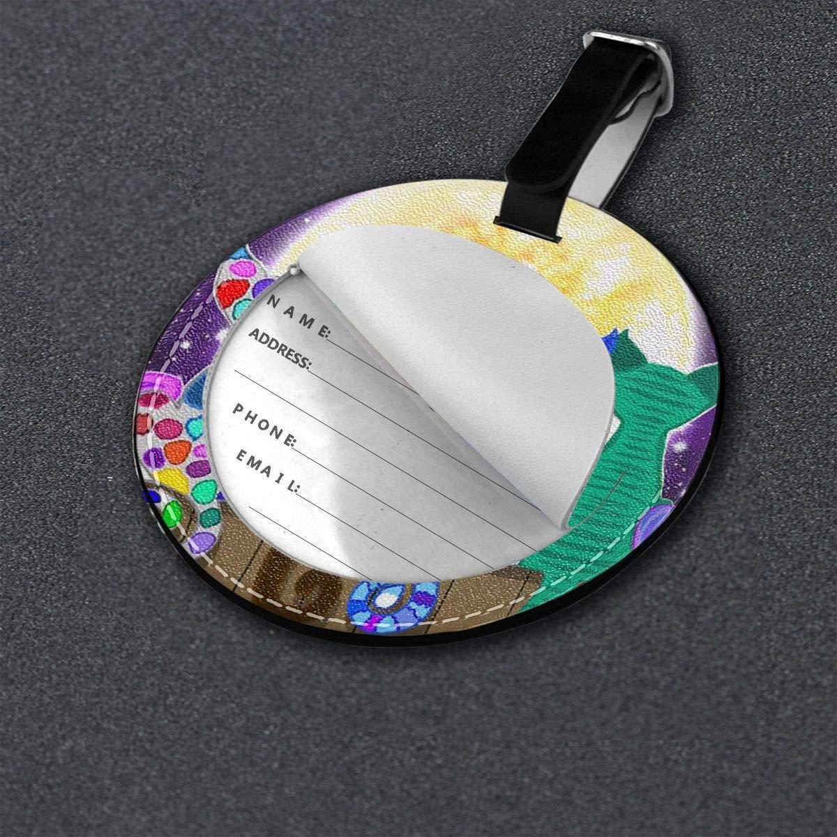 Free-2 Moon Shadow Meow Luggage Tag 3D Print Leather Travel Bag ID Card