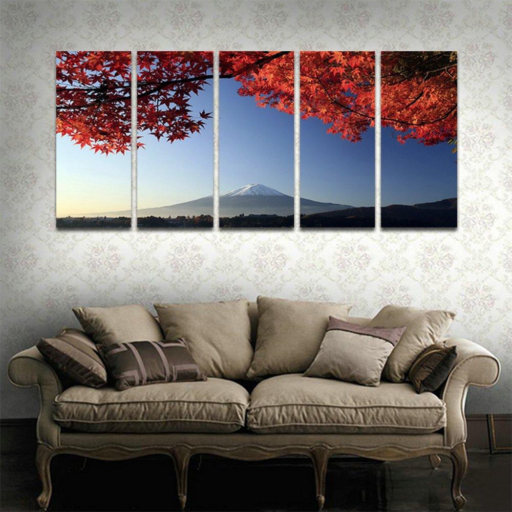 CyiohArt 5パネル アートパネル 「秋の富士山と紅葉」 壁掛け 風景写真の壁の写真を絵画 キャンバス絵画 ホームデコレーション用 (69インチx32インチ、木枠付きの完成品) B077X97MXG木枠付きの完成品 35cmx80cmx5