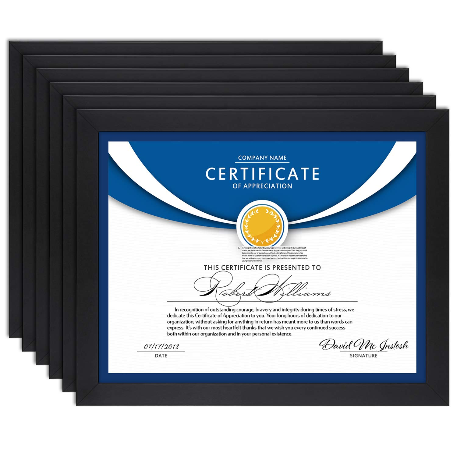 Icona Bay 8.5x11 Diploma Frame (6 Pack, Black), Black Sturdy Wood Composite Certificate Frame, Document Frame Bulk, Wall or Table Mount, Set of 6 Exclusives Collection by Icona Bay
