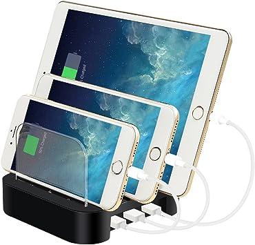 Estación de Carga USB, ELEGIANT 3 Puertos USB Multi-Cargador ...