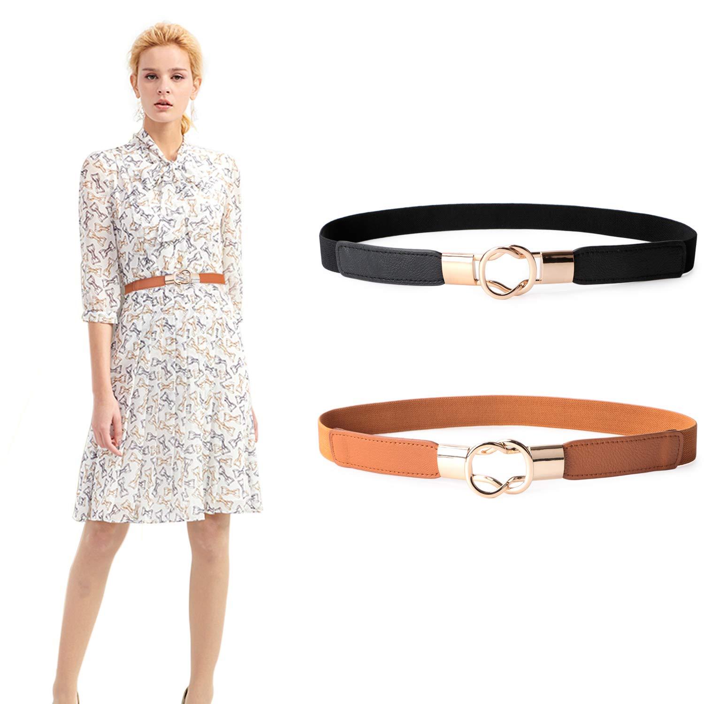 8185311686ec5 JASGOOD 2 Pack Women Retro Elastic Stretchy Metal Buckle Skinny Waist Belt  1 inch Wide