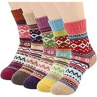 Womens Cozy Socks, Menlea Winter Vintage Crew Warm Thick Wool Socks for Women 5 Pairs