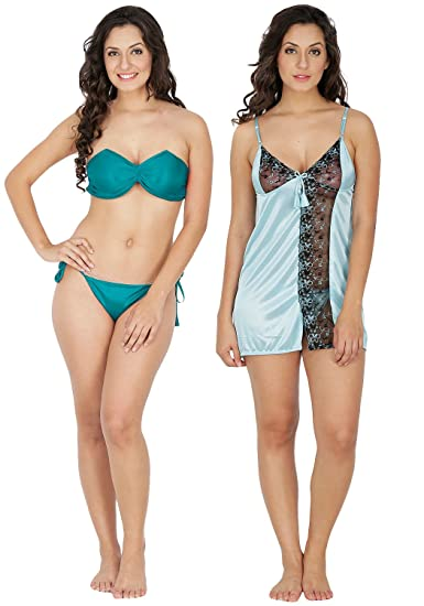fdbf2b95b Klamotten Women s Satin Nightwear and Bikini Set (Multicolour