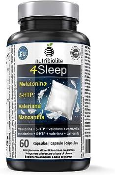 4Sleep - Melatonina Pura + 5-HTP Griffonia Simplicifolia + Manzanilla + Valeriana - Efecto prolongado, Rápida conciliación y mejora del sueño, Reduce estrés, ansiedad e insomnio, Somnífero natural: Amazon.es: Salud y cuidado personal