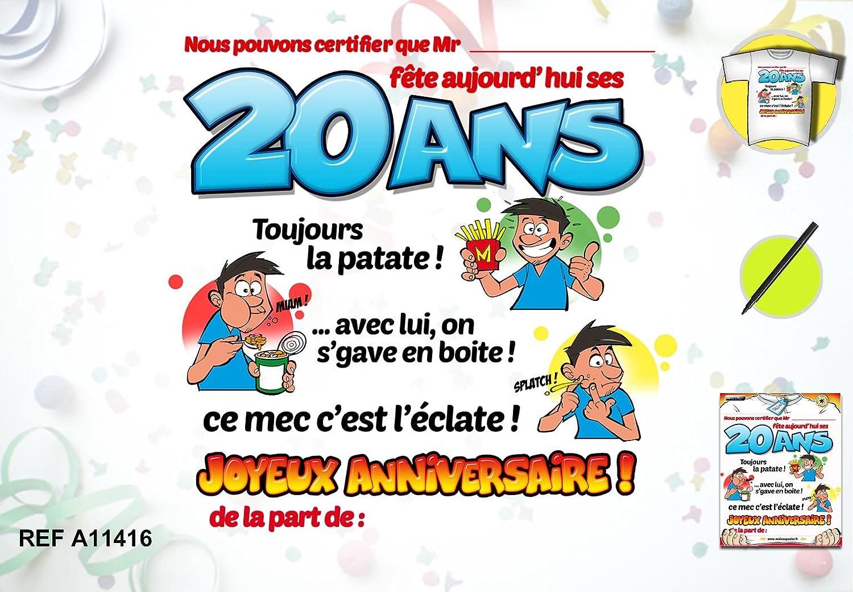 Tee Shirt Anniversaire 20 Ans Homme Amazon Fr Hygiasne Et Soins Du Corps