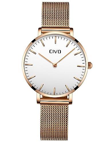 9591470a9337 CIVO Relojes Mujer Ultra Fino Silm Minimalista Reloj de Señoras Impermeable  Moda Vestir Elegante Relojes de