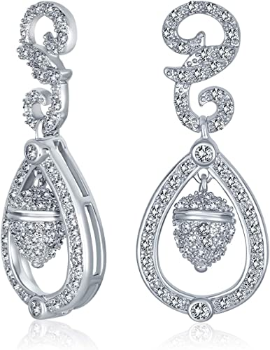 Bridal Earrings For Her Christmas. Gift Ideas Free Shipping-Cubic Zirconia Teardrop Stud Dangle Earrings with Sterling Silver Ear Posts