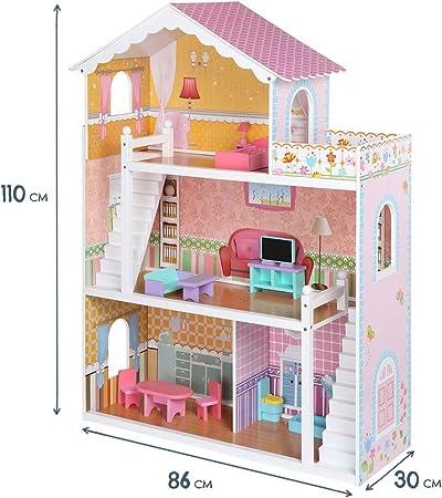 Baby Vivo Casa de Muñecas de Madera con Miniatura Muebles Escalera Ascensor Sueño Mansion para los Niños - Violetta: Amazon.es: Hogar