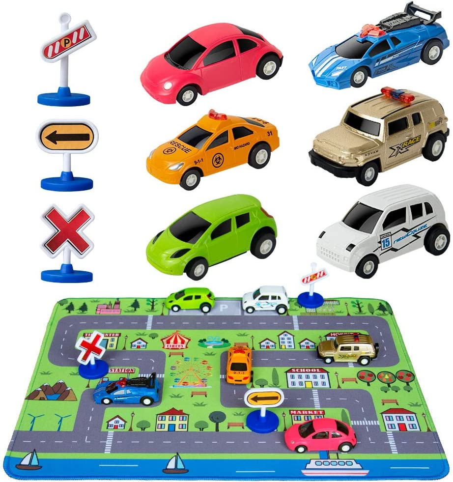 City Life Childrens Educational Parking Lot with Traffic Signs Pretend Play Toys Set Racing Cars Toy Set with Activity Play Mat
