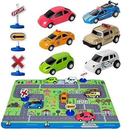 Amazon.com: Juguetes de coche con alfombra de juego, 6 ...