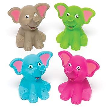 Baker Ross- Elefantes Que lanzan Agua para niños (Pack de 5) -Bolsas Sorpresa o como Regalo para niños