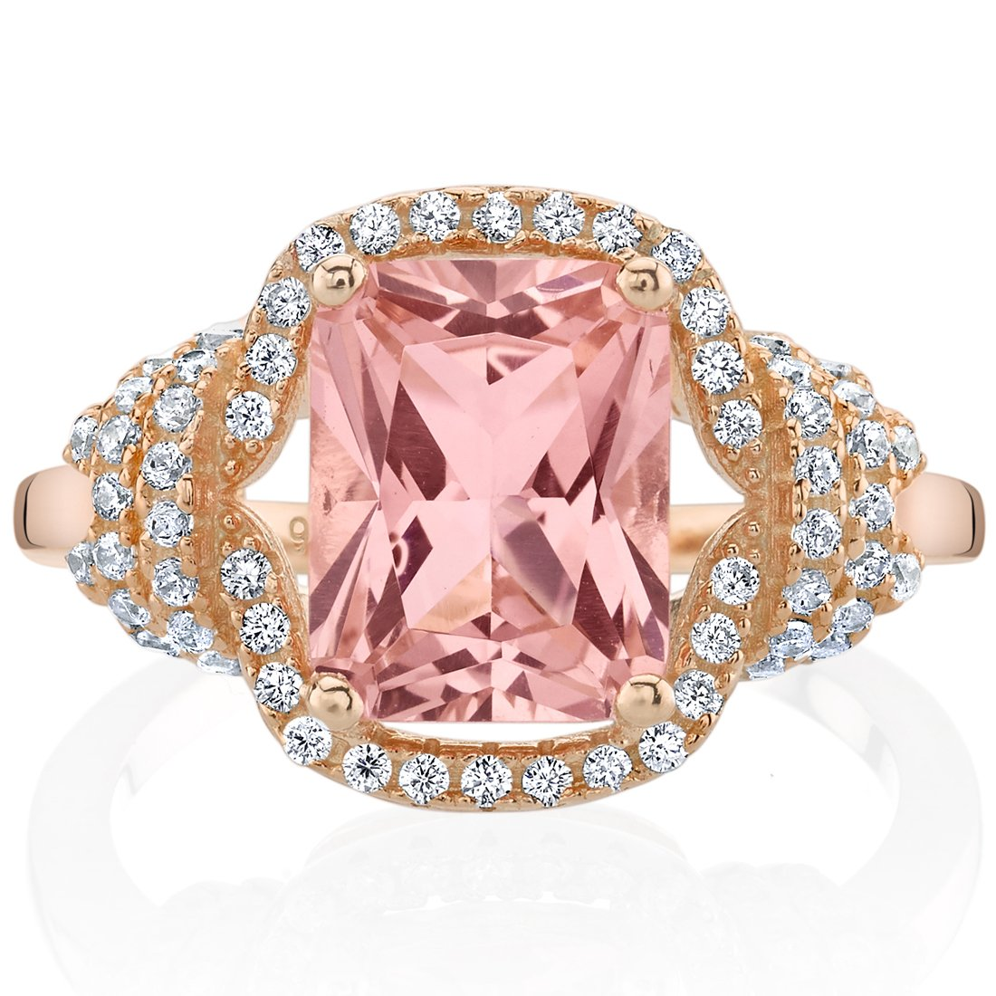 Peora Simulated Morganite Rose-Tone Sterling Silver Cocktail Ring