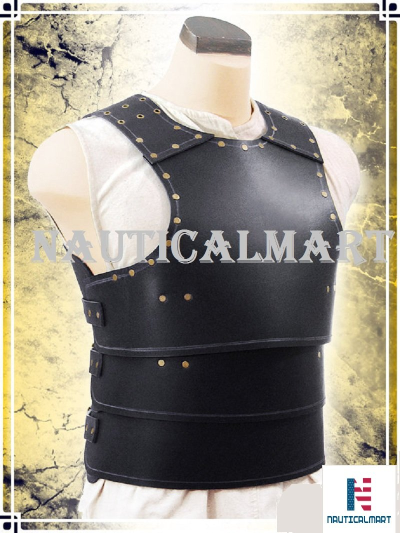 NAUTICALMART Basic Leather Armor LARP, Cosplay, Chest (Black) by NAUTICALMART