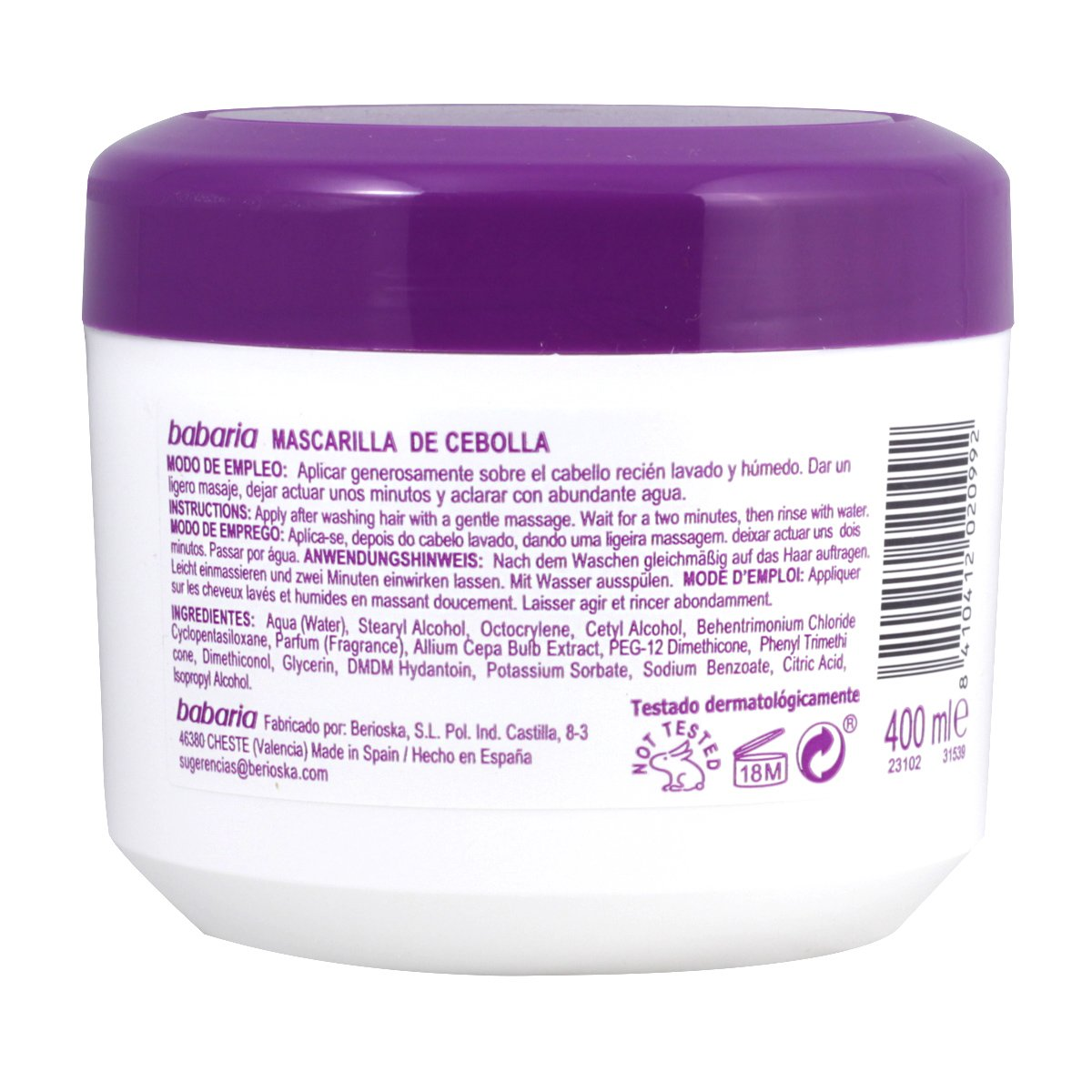Amazon.com: Babaria Cebolla Máscara del pelo 400 ml: Clothing