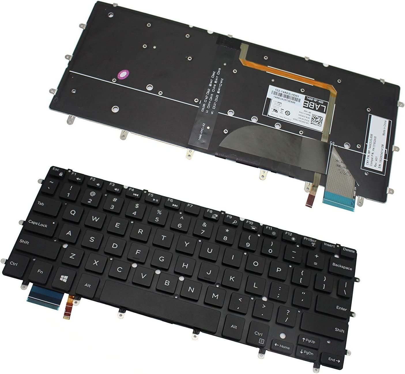 Original New for Dell 490.04R07.0C01 9Z.NCALN.201 US backlit Keyboard