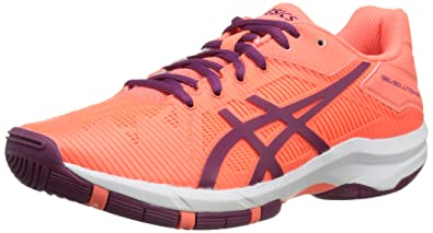 ASICS Gel-Solution Speed 3 GS Tennis Shoe, Flash Coral/Plum/Flash