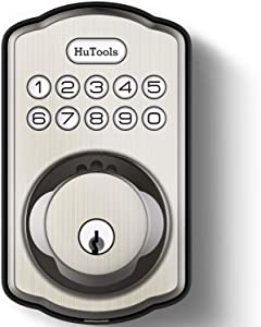 Keyless Entry Door Lock, HuTools Electronic Keypad Deadbolt Lock, Emergency Charging Port, 20 User Codes, Auto Lock, One Time PIN Code for Front Door, Bedroom, Garage & Side Door, Locker, Satin Nickel