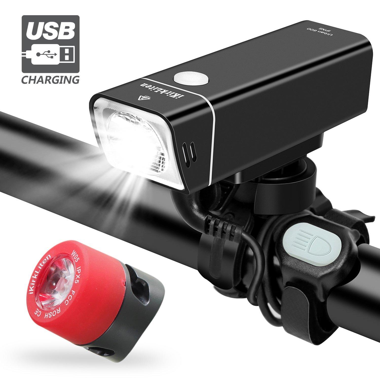 iKirkLiten Urban 600 Lumens Bike Lights Front and Back, USB Rechargeable Bike Headlight Free Tail Light Bike Light Set, Aluminum Alloy Waterproof Bike Headlight W Wired Remote Button, 5 Lighting Modes