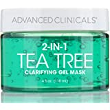 Advanced Clinicals Tea Tree Oil Mask. 2-in-1 overnight sleep mask w/Tea Tree Oil, Witch Hazel & Grapefruit Extract for dry sk
