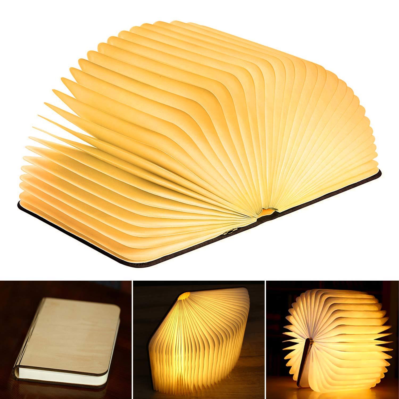 KKTICK LED Livre Lampe,Pliante en Forme Rechargeable Par USB Magn/étique en Bois 360 /° Creative Lampe de Chevet Imperm/éable Veilleuse Table Lumieres Decorative