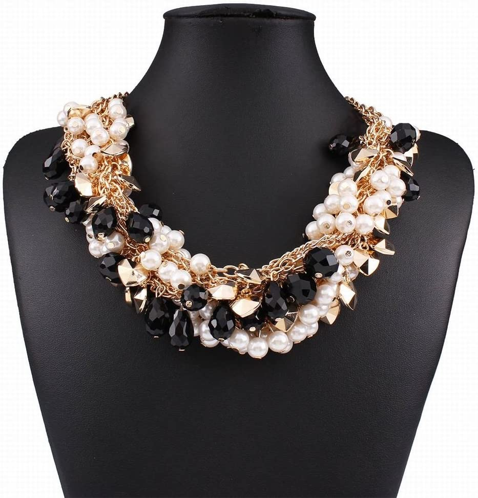 Moda Hipoalergénica de Moda Temperamento de Lujo de Cristal Salvaje de Múltiples Capas Perla Trenzada Collar de la Joyería , negro