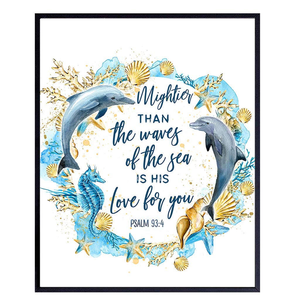 Ocean Dolphins Bible Verse Religious Wall Art - Inspirational Quote Christian Scripture Room Decoration for Bathroom, Bedroom - Nautical Beach House Poster - Mightier Than the Waves Blue Wall Decor