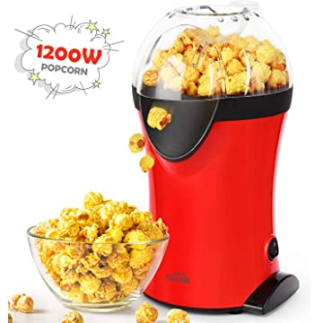 Popcorn Popper, SIMBR Hot Air Popcorn Machine with Measuring Spoon and Large Lid for Serving Bowl and Convenient Storage, 1200W Electric Popcorn Maker, 3-QT, No Oil Need