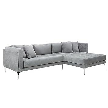 Modernes Sofa modernes sofa daydream grau mit ottomane rechts inkl kissen ecksofa