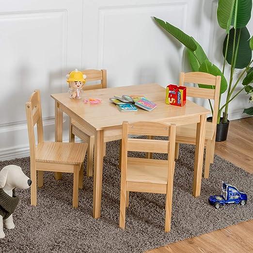 HAPPYGRILL Juego de Mesa y sillas niños, Mesa y sillas de Madera ...