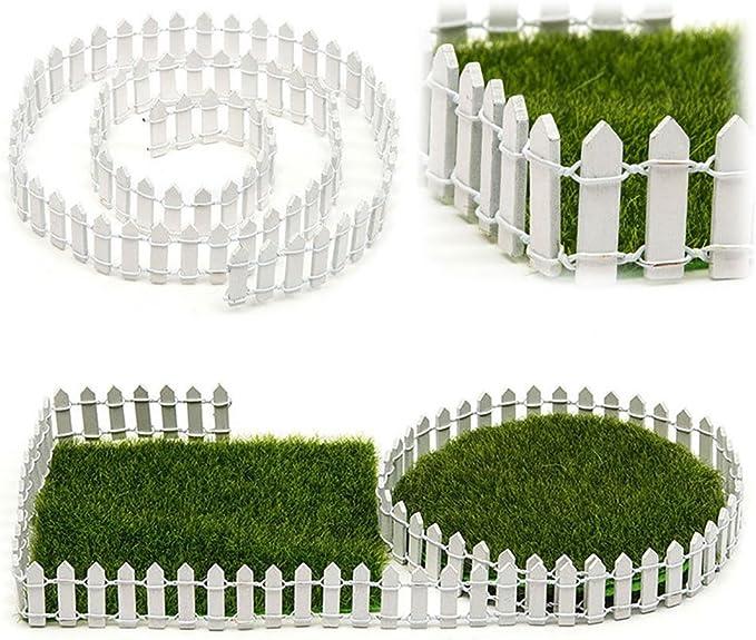 EMVANV - Kit de madera en miniatura para valla de hadas, jardín, terrario, muñeca, casa, bricolaje, accesorios de decoración, Blanco, 5 cm: Amazon.es: Jardín