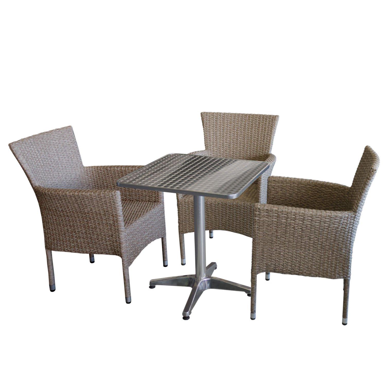 4 piezas. Mobiliario de jardín Bistro Mesa, aluminio, plata ...