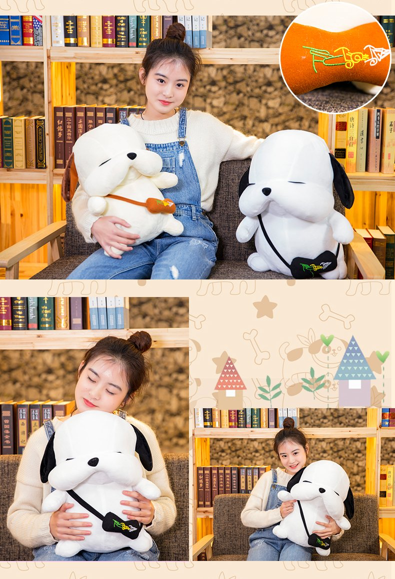 Lovely Embroidery Cuddly Ins Cartoon Cute Puppy Dog Stuffed Animals 3D Plush Lumbar Soft Hugging Figure Bolster Bed Cushion Nursery Home Office Decor Baby Play Toy Sleeping Throw Pillow Gift White by ORGEN HOME (Image #8)