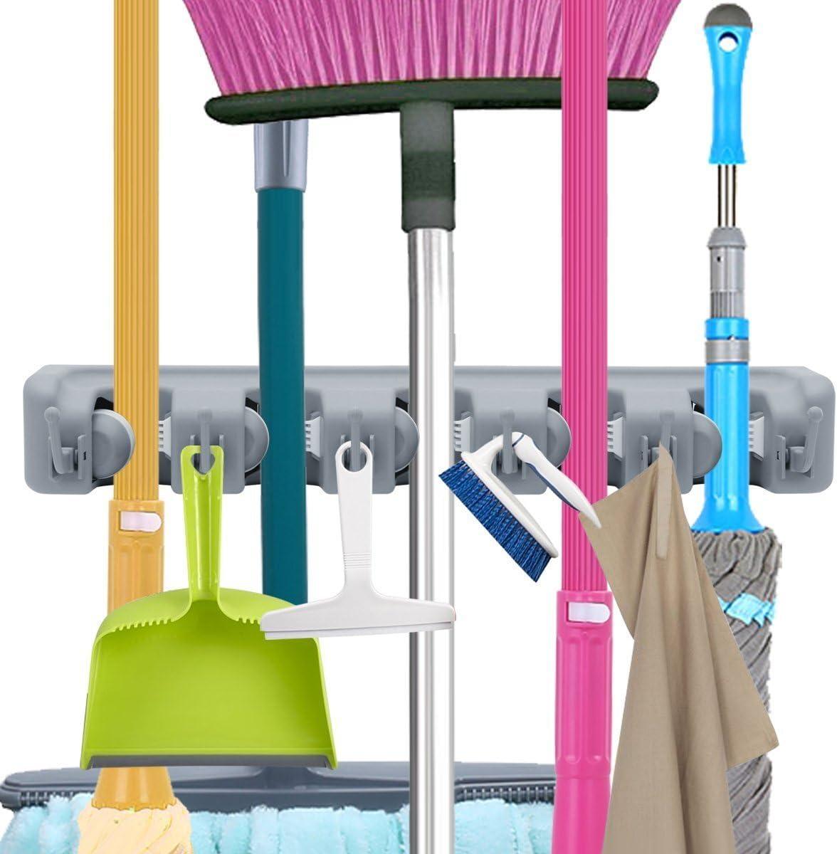 Yevenr Durable Mop Holder Rack Mop Broom Rack Montado en la Pared Mop Broom Holder Mop Broom Holder Rack para el hogar Mop Rack 4 Position 5 Hooks
