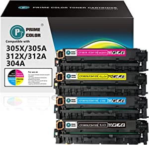 Prime Color Remanufactured Toner Cartridge Replacement for HP 305X 312X for Laserjet Pro 400 Color M451dn M451dw M451nw M475dn M475dw MFP M476nw M476dn M476dw (Black,Cyan,Magenta,Yellow)