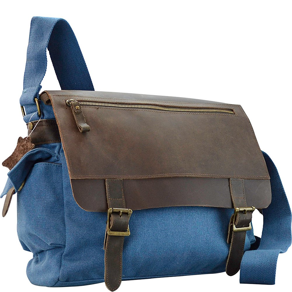 Blue R /& R Collections Canvas Messenger Bag With Leather On Flap