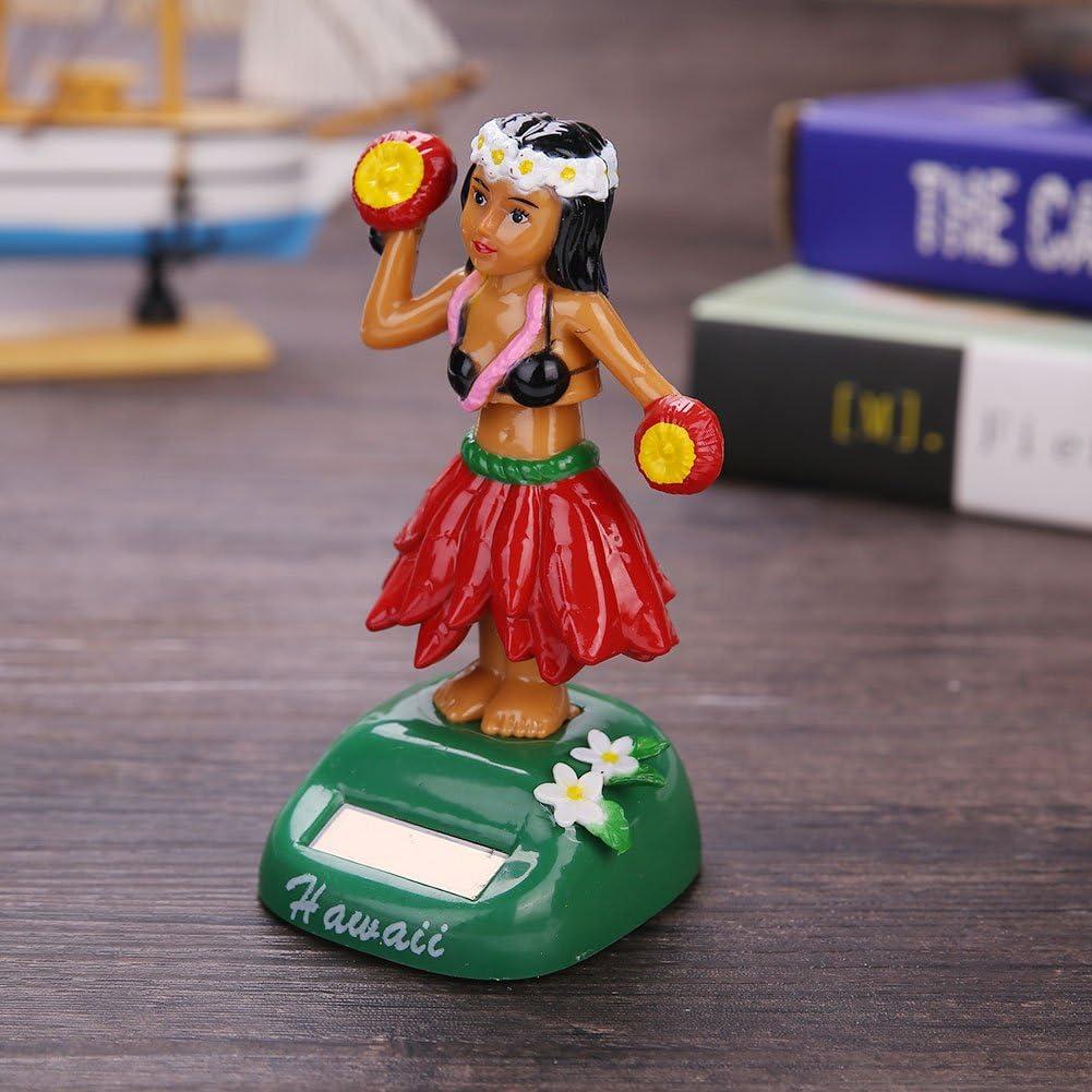 Leaftree Hawaiian Girl D/écoration de Voiture Solaire-Beaut/é Herbe Jupe Swing Piece Fournitures de Bureau D/écorations dint/érieur de Voiture