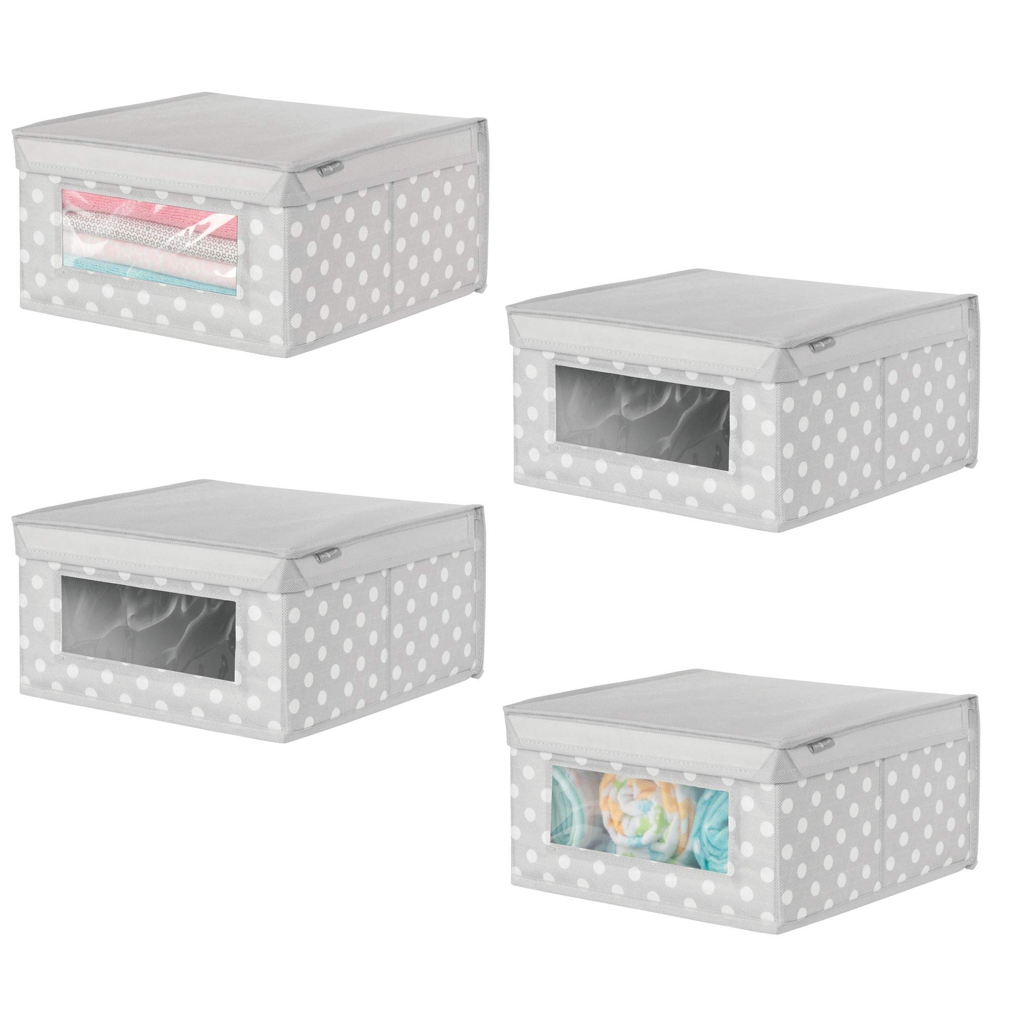 mDesign Soft Stackable Fabric Closet Storage Organizer Holder Box - Clear Window, Attached Hinged Lid, for Child/Baby Room, Nursery - Polka Dot Pattern � Medium, Pack of 4, Light Gray with White Dots