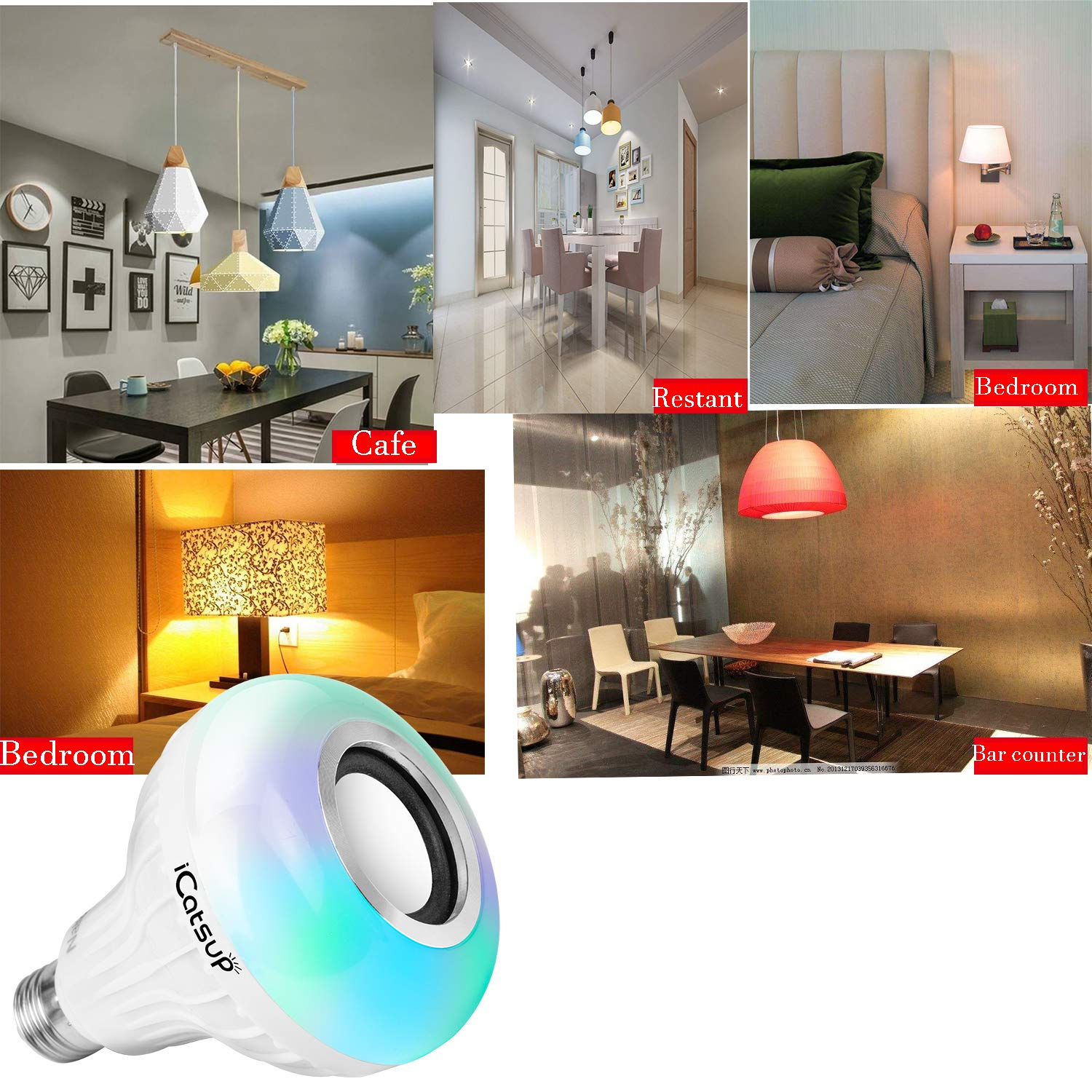 LED Light Bulb with Integrated Bluetooth Speaker 6W E27 RGB Changing Lamp Wireless Stereo Audio with Multi-Functional Remote Control zhaishunguang