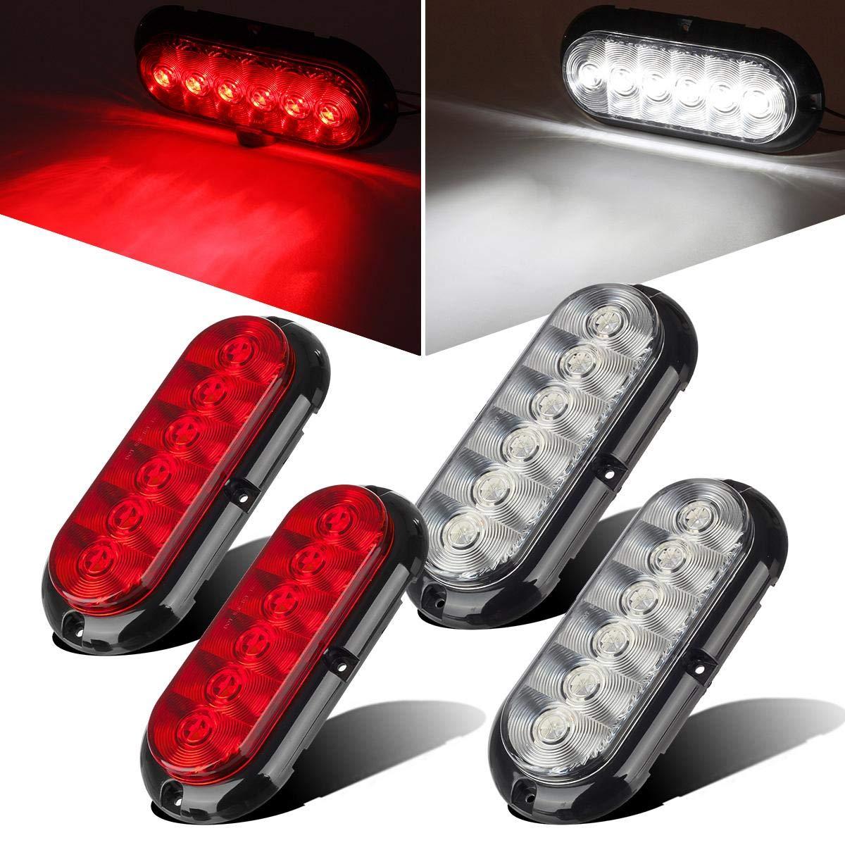 Partsam 2 RED + 2 WHITE 6'' Oval LED Trailer Tail Light Kit Flange Mount - 6'' Oval Led STOP TURN BRAKE REVERSE BACK UP Tail Light 6 LED for Truck Trailer RV Pickups