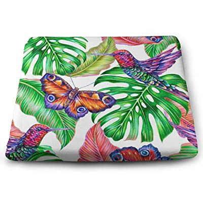 Sanghing Customized Tropical Jungle Leaves, Hummingbirds, Floral Summer Colorful Butterfly 1.18 X 15 X 13.7 in Cushion, Suitable for Home Office Dining Chair Cushion, Indoor and Outdoor Cushion.: Home & Kitchen