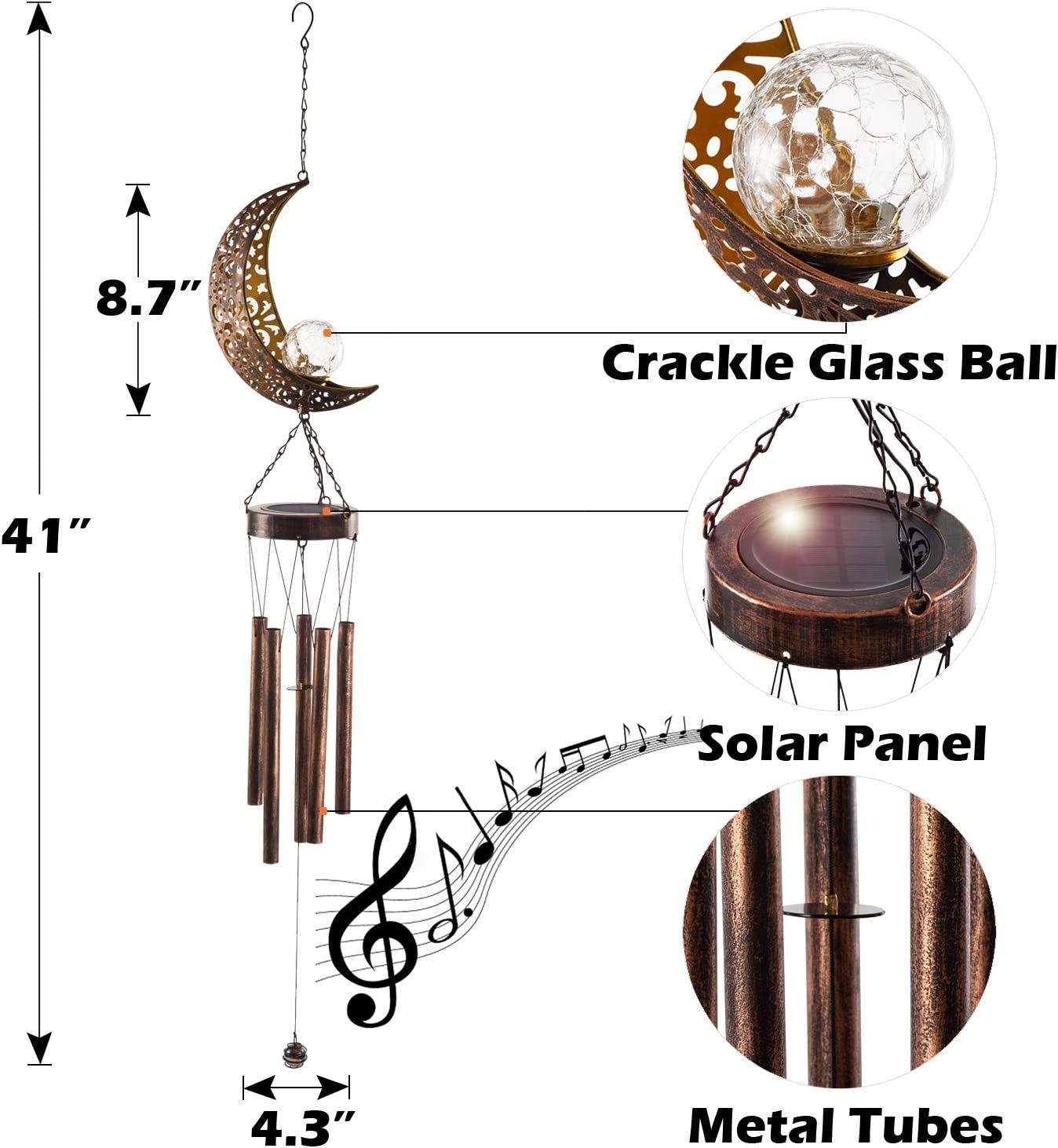 LeiDrail Solar Wind Chimes for Outside Hanging Outdoor Decor Moon Crackle Glass Ball Warm LED Light Sympathy Wind Chime Unique Memorial Gift with Metal Tubes Waterproof for Garden Yard Patio Lawn : Garden & Outdoor