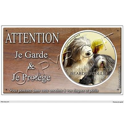 Panneau chien ou plaque Bearded-Collie-02 20 cm